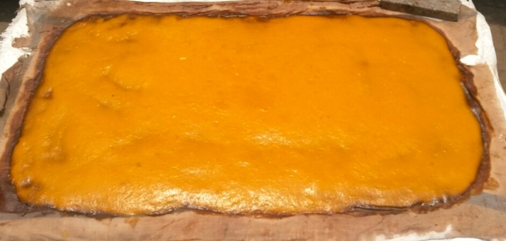 Sour Mango pulp with salt and pepper being sun-dried  to make Ambya Sathee also called Aam papad