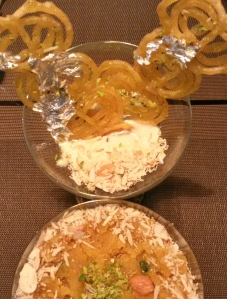 Jalebi and rabri and Moongdal Halwa