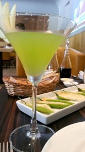 Basil and Apple Martini and stuffed Chillis