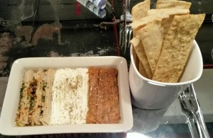 Hummus, Labneh and Carrot and Cumin dip with Lavache
