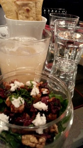 Ginger Lemonade  with Arugula, Chevre and Cranberry salad
