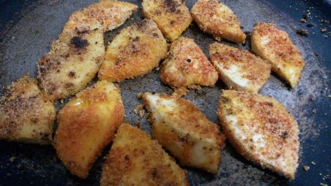 Panfried semolina crusted breadfruit