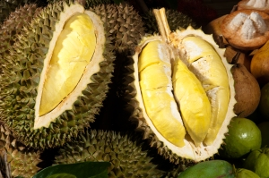Durian. The king of fruits in Thailand. You like it or hate it!!  And yes you are fined for eating one  at a public place in Singapore !