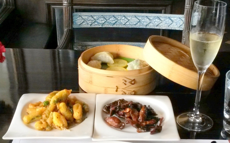 Tempura , Dimsums and stir fried veggies with champagne