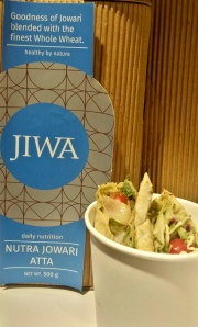 Butter Beans and Feta, Pesto in a Jowar wrap
