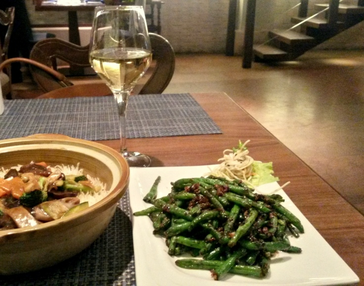 Pot rice and Soy French beans with a dry Riesling