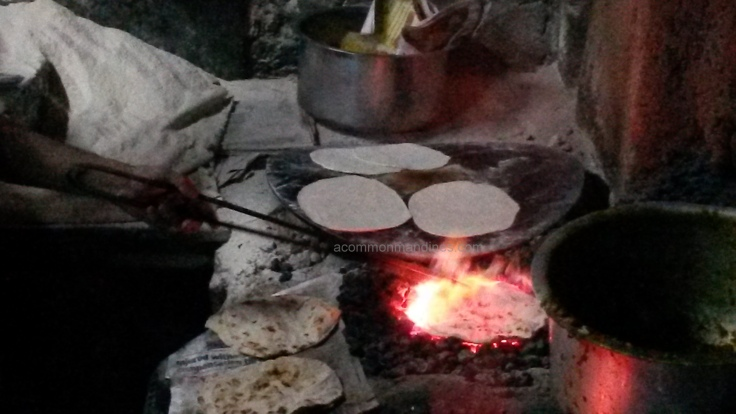 Chapati on embers