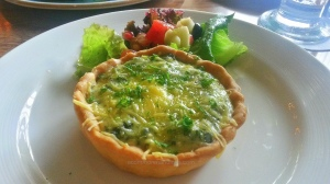 Pumpkin,Kale and Goat cheese tart