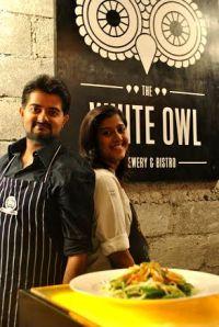 Nikhil and Kshama with the Asian raw and ripe mango salad