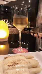 White Asparagus and hollandaise with an Indian Chardonay