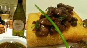 Zuppa di fungi, Crostini di Polenta, Chardonnay