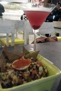 Masala Peanuts and Spiced pomegranate martini Hoppipola
