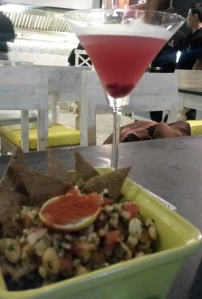 Masala Peanuts and Spiced pomegranate martini Hoppipola