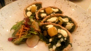 Spinach and roasted pumpkin tart, creamy goats' cheese  Sassy Spoon